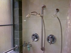 The roll in shower has two shower heads with separate controls. One is fixed up high and the second is on a flexible hose. The window has a grab bar down low and all the towel racks are actually reinforced grab bars at recommended heights. Towel Racks, Grab Bars, Shower Heads, Separate, Door Handles, Two By Two, Window, Shelves, Pull Apart