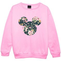 Mouse Floral Sweater Jumper Womens Ladies Fun Tumblr Hipster Swag... ($25) ❤ liked on Polyvore featuring tops, pink rose sweater, pink sweater, hipster sweater, floral sweater and retro sweaters