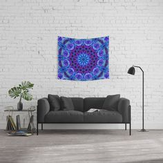 Deep Blue Flowing Water Abstract Painting Wall Hanging Tapestry by Elizabeth Karlson - Small: x Gold Walls, Blue Walls, Water Abstract, Blue Space, Deep Space, Black Tree, Star Wall, Society 6 Tapestry, Flower Of Life