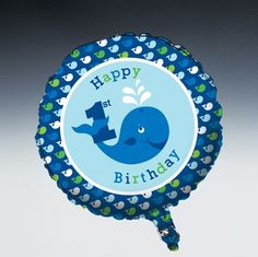 "Matching the Ocean Preppy Boy 1st Birthday Party theme, this round 18"" foil balloon features a smiling blue whale and a ""Happy 1st Birthday"" message.  Inflates with a standard helium tank, double-sided, sold individually."