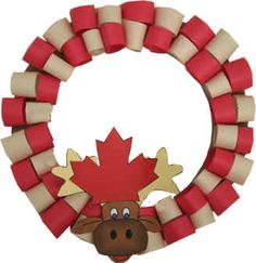 Moose Head Canada Day Wreath: They used construction paper, but I was thinking y. Moose Head Canada Day Wreath: They used construction paper, but I was thinking you could easily cut toilet paper rolls in half and paint them. Christmas Activities For Toddlers, Animal Crafts For Kids, Preschool Activities, Moose Crafts, Fish Crafts, Canada Christmas, Christmas Art, Canada Celebrations, Canada Day 150
