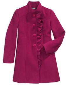 DKNY Kids Jacket, Girls Asymmetrical Ruffle Coats