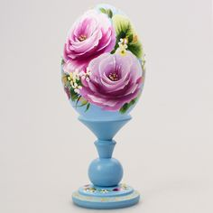 Flowers Decorative Wooden Egg (blue) | Product sku S-120724