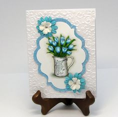 Easter Blue Tulip Vase  Handmade  Greeting Card  by catSCRAPPIN, $3.75