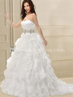 Tiered Organza Wedding Dress with Crystal Band BC454N