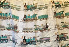 Vtg Locomotive Train Curtain Canadian Pacific Wainrights  Drapery Fabric Cutter