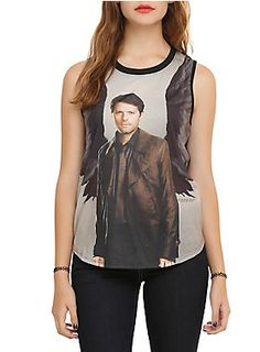 Sleeveless top from <i>Supernatural</i> with Castiel sublimation print design on front.