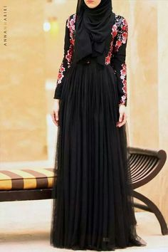 Beautiful Black Dress, Floral #hijab #hijabi #fashion