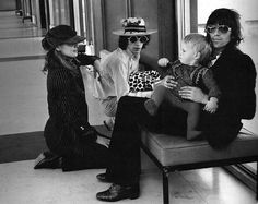 Anita Pallenberg, Mick Jagger and Keith Richards with his son Marlon, 1970