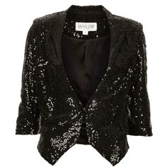 TOPSHOP **Sequin Blazer by WYLDR ($25) ❤ liked on Polyvore featuring outerwear, jackets, blazers, blazer, tops, casacos, black, blazer jacket, sequin blazer jacket and 3/4 sleeve jacket