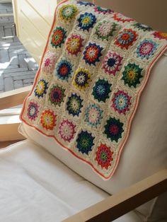 Crochet Baby Blanket - Granny Squares - Retro & Colorful. $65.00, via Etsy.