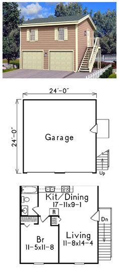Oversized 2 car garage plan with two story 1440 1 24 39 x for 24 x 30 garage apartment