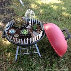 Finally completed my up-cycled, BBQ, table-top grill Fairy Garden!!