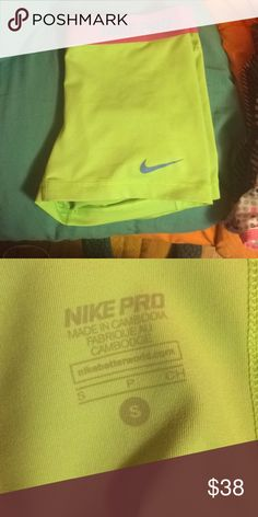 Lime green Nike pros Worn but look brand new. Super stylish. 😍 Nike Shorts