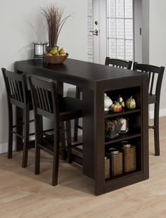 Jofran Furniture Maryland Merlot Counter Height Set is part of Small kitchen tables - Shop Jofran Furniture Maryland Merlot Counter Height Set with great price, The Classy Home Furniture has the best selection of Bar Complete Sets to choose from Home Kitchens, Small Apartments, Dining Table With Storage, Small Dining, Jofran Furniture, Dining Room Small, Home Decor, Dining Storage, Apartment Decor