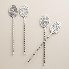 DRINK RECIPE STIR SPOONS! Set of 4 via World Market, around $15. From the Bloody Mary to the classic Margarita you'll know what to do because it's on your hand and on your spoon! The perfect gift: #housewarming, #bachelor, & so much more. Plus they're beautiful!