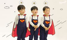 my hero Cute Kids, Cute Babies, Song Il Gook, Triplet Babies, Superman Kids, Man Se, Song Daehan, Song Triplets, Baby Corner