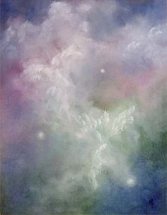 Dancing Angels, Angel Art Print Card, Frameable, Signed, From Original Oil Painting  by Marina Petro