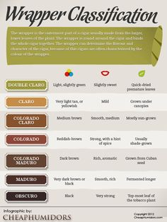 Easy to use guide on different types of cigar wrappers and how they influence the cigar humidor.