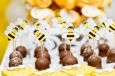 Bumble Bee Cupcake Toppers set of 20 by FestivaPartyDesign on Etsy