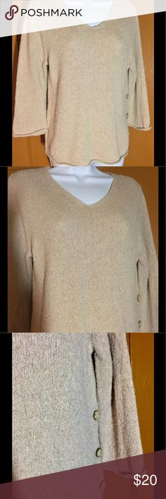 V-Neck Cotton/Ramie Sweater, Tan M Super nice and versatile V-neck sweater. Three quarter sleeves with rolled edges at cuffs and hem. Cute button detail on one side. Very comfy slushy knit that's perfect with jeans to make a great outfit. Or pair it with my unconstructed blazer offered in a separate listing...just beautiful. Good condition. See photos for fabric content. Christopher & Banks Sweaters V-Necks