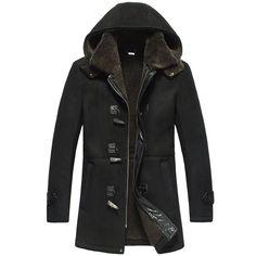 68cc64de3c0 CWMALLS Men s Shearling Sheepskin Hooded Jacket Custom CW878135   Amazon.co.uk  Clothing