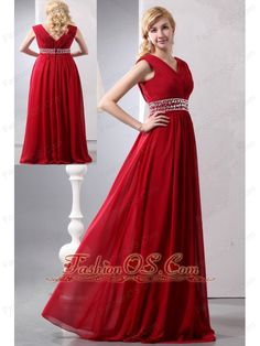 Modest Wine Red Empire V-neck Plus Size Prom Dress Floor-length Chiffon Beading- $138.59    http://www.fashionos.com  http://pinterest.com/Fashionosfuns/  This stunning evening gown is timeless beauty personified. The inner layer of its sweetheart bodice and its broad shoulder straps are decked out with ruching. Fine ruching through the bust meets decadent jewels at the center of the bust and the empire waist.