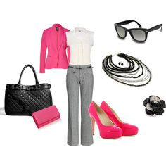 Oh hey, business casual... LOVE the bright pink with light grey and black!