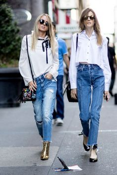 New Yorkers are killing transitional street style at New York Fashion Week… More