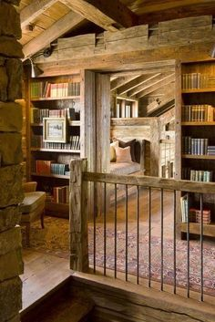 Bedroom with loft library space, rustic, upstairs, second story, exposed beams