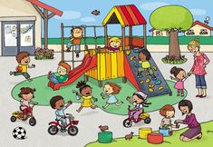 Playground scene for describing and Wh- questions Picture Writing Prompts, Speech Language Pathology, Speech And Language, Drawing For Kids, Art For Kids, Composition D'image, Picture Comprehension, Book Illustration, Illustrations