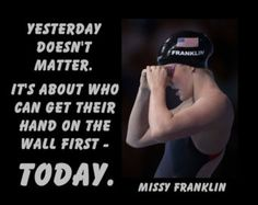 "Missy Franklin Olympic Swimming Champion Swimmer Photo Quote Poster Wall Art Print 5x7""- 8x11"" Yesterday Doesn't Matter - Free USA Ship"