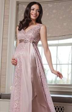 Thea Maternity Gown Long Blush - Maternity Wedding Dresses, Evening Wear and Party Clothes by Tiffany Rose.