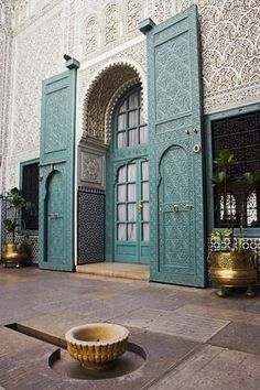 Africa | The interior of the Mahakma du Pasha in the Quartier Habous or 'New Medina' in Casablanca, Morocco. The building was once a palace and law courts but is now a police prefecture. It has over 60 rooms decorated with carved wooden ceilings, stuccoes and stone floors. | © Julian Love