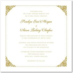 Coiled Corners - Thermography Wedding Invitations - Sarah Hawkins Designs - TH Gold - Neutral : Front