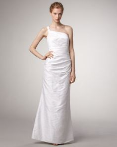 One-Shoulder Dupioni Gown by Phoebe Couture at Neiman Marcus.