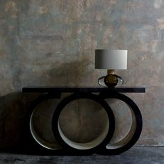 The Scarsdale Console in high gloss sycamore black and silver leaf gilding with a Porta Romana lamp London Design Week, Interiors Magazine, World Of Interiors, Reception Rooms, Luxury Living, Pedestal, Geometric Shapes, High Gloss, Wall Lights