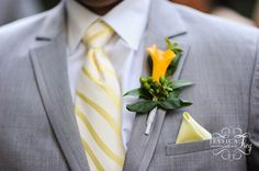 striped yellow tie with grey suit for the guys!