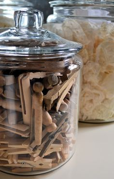 Shabby Love: Craft Room Changes. love the vintage clothes pins in glass jar