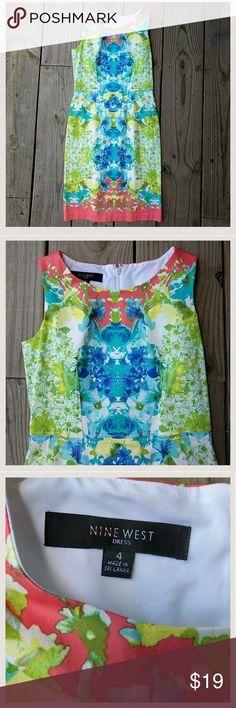 Nine West dress NWOT 💥1DAY SALE 💥 Bright floral print, cotton/elastotone, size 4, NWOT Nine West Dresses Midi