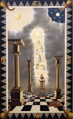 Entered Apprentice 1st degree Masonic Symbolic Plate art chart trestle tracing board