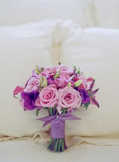 Bouquet in lavenders and purples - by Heather Murdock of The Blue Orchid (image by Silvana Di Franco)