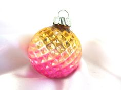 Vintage Shiny Brite Christmas Ornament, Gold and Hot Pink Ombre Golf Ball, Dimpled, Waffle Ornament