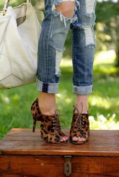 leopard booties and ripped jeans