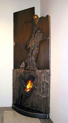 Contemporary Art - Design - Craft - Fireplace Mantels of rusted steel or stainless steel. Fireplace mantel of metal. Made by GAHR - Metal Art from Austria. Stove Fireplace, Fireplace Mantle, Fireplace Design, Hearth Stone, Backyard Water Feature, Oldschool, Rustic Design, Home Decor Items, Decoration