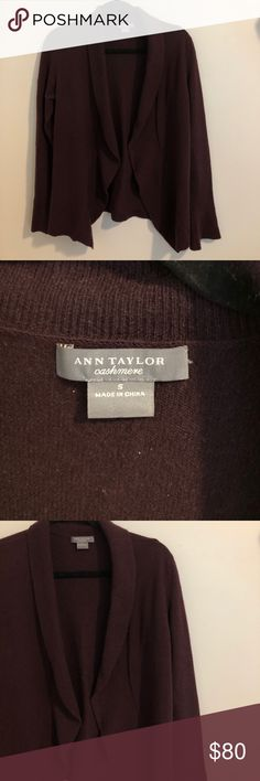 Ann Taylor Cashmere Open Cardigan In great condition. Super soft. Plum colored. 100% Cashmere. Ann Taylor Sweaters Cardigans