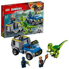 LEGO Juniors Jurassic World Raptor Rescue Truck. LEGO building toys are compatible with all LEGO construction sets for creative building. Capture the raptor before it's too late! LEGO Juniors sets have Starter Bricks. Lego Jurassic World, Jurassic World Raptors, Jurassic Park, Lego Juniors, Legos, Lego Junior Sets, Raptor Dinosaur, Dino Toys, Shopping