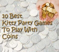 10 Kitty Party Games With Coins This is a list of 10 best Kitty Party Games With Coins. You can play these games in your ladies kitty party, kids birthday party or your family gatherings. One Minute Party Games, Couple Party Games, Easy Birthday Party Games, Sleepover Games, Kids Party Games, Fun Games, Group Games For Kids, Indoor Games For Kids, Card Games For Kids
