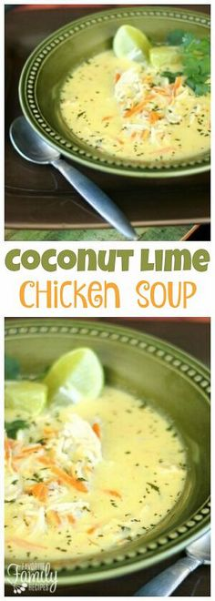 Coconut Lime Chicken Soup is a tasty sweet and savory soup that is bursting with flavor. The combination of flavors is unique yet feels like comfort food. via @favfamilyrecipz