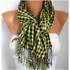 Plaid Women Shawl Scarf - Cowl ❤ liked on Polyvore